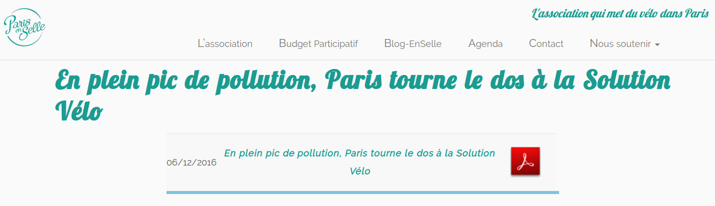 En plein pic de pollution, Paris tourne le dos à la Solution Vélo